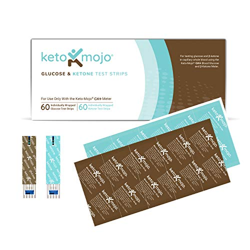 KETO-MOJO Test Strip Combo Pack for Use ONLY with The New GK+ Meter   60 Blood Glucose + 60 Blood Ketone (120ct)