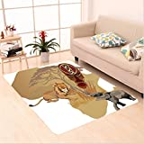 Nalahome Custom carpet ion Silhouette of Africa Map and Local Animal Elephant Lion Tribal Mask Savannah Wild Life Multi area rugs for Living Dining Room Bedroom Hallway Office Carpet (6' X 9')