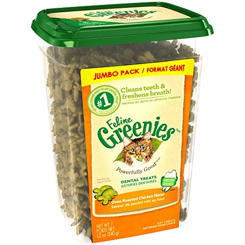 FELINE GREENIES Dental Treats For Cats Oven Roasted Chicken Flavor 12 oz. With Natural Ingredients Plus Vitamins, Minerals, And Other Nutrients Oven Roasted Chicken