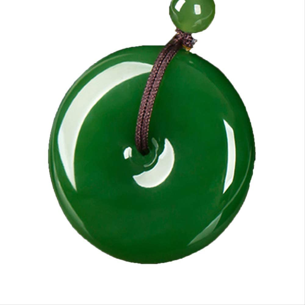 Minekkyes Verde Nefrita Colgante Moda Plana Redondo Círculo Donut Paz Natural Real Jades Piedras Colgantes para Collar