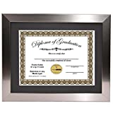 CreativePF [11x14ss] Stainless Steel Finish Diploma Frame with 11x14-inch White Mat to Hold 8.5 by 11-inch Graduation Documents w/ Stand and Wall Hanger
