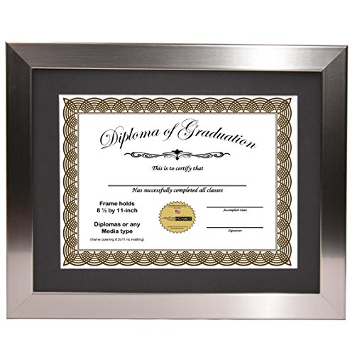 - CreativePF [11x14ss] Stainless Steel Finish Diploma Frame with 11x14-inch White Mat to Hold 8.5 by 11-inch Graduation Documents w/Stand and Wall Hanger