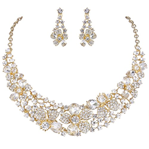 EVER FAITH Gold-Tone Austrian Crystal Hibiscus Flower Necklace Earrings Set Clear ()