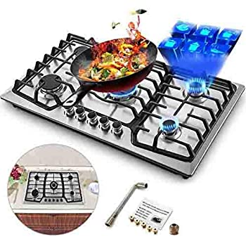 Happybuy 36x21 inches Built 5 Burners Stove Stainless Steel Hob With Liquid Propane Conversion Kit Thermocouple Protection and Easy to Clean Gas Cooktops, 5 Burners/36 x21