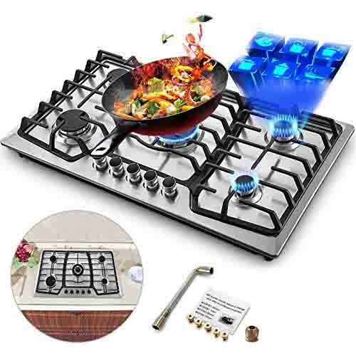 Price comparison product image Happybuy 36x21 inches Built in Gas Cooktop 5 Burners Gas Stove Cooktop Stainless Steel Cooktop Gas Hob With Liquid Propane Conversion Kit Thermocouple Protection and Easy to Clean