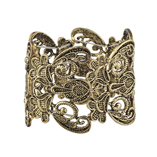 Lux Accessories Burish Gold Lace Filigree Casted Stretch Boho Bracelet for Women