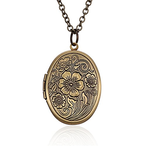 Child Oval Locket (4EAELove DIY Antique Bronze Oval Striped Flower Carved Charm Pendant Picture Locket Necklace (Oval))