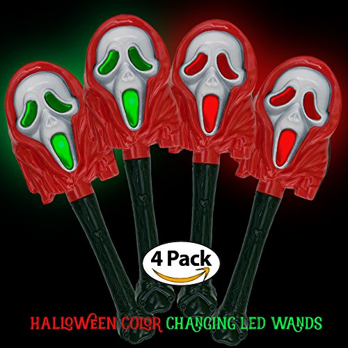 Halloween Party Favors for Kids - Toys for Goody Bags 4 Pack / Pieces Red Ghouls LED Light up Wands on Clearance (Halloween Treats For School)