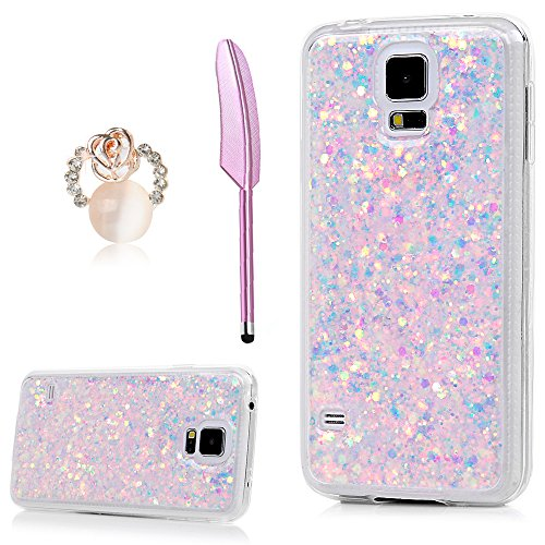 Galaxy S5 Case, YOKIRIN Luxury Sparkle Powder 3D Diamond Paillette Bling Slim Glitter Flexible Soft Rubber Gel TPU Protective Shell Hybrid Bumper Case Cover for Samsung Galaxy S5 i9600, Light (Diamond Tpu Rubber Case)