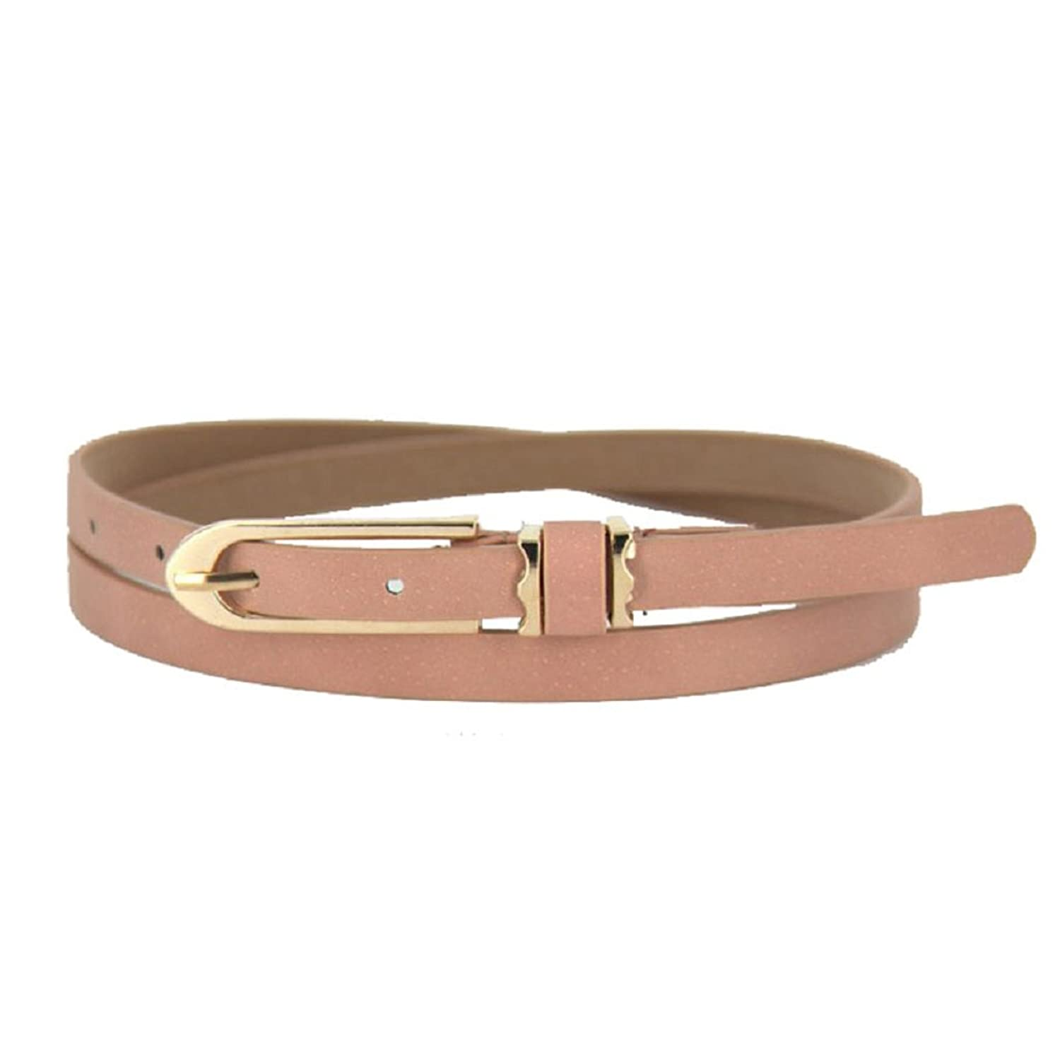 Motop Women's Candy Color Thin Skinny PU Leather Buckle Belt