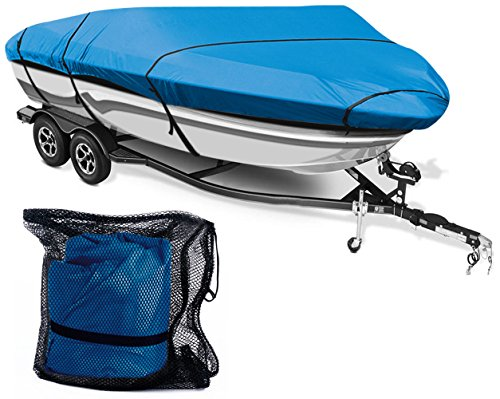 Leader Accessories 300D Polyester 5 Colors Waterproof Trailerable Runabout Boat Cover Fit V-Hull Tri-Hull Fishing Ski Pro-Style Bass Boats, Full Size (14'-16'L Beam Width up to 90'', Navy Blue)