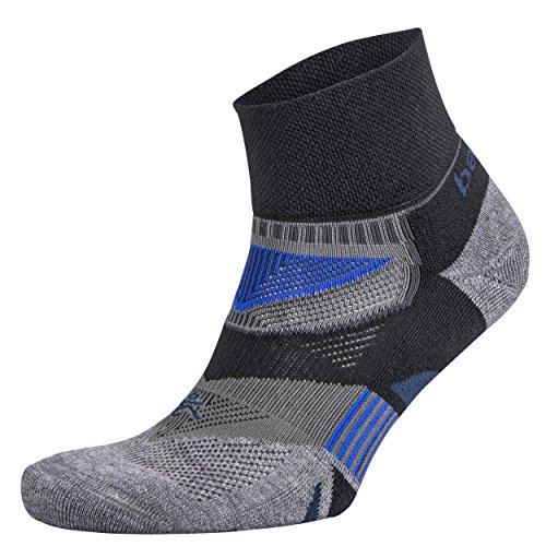 Balega Enduro V-Tech Quarter Socks For Men and Women (1 Pair) (2017 Model), Black/Heather Grey, Large ()