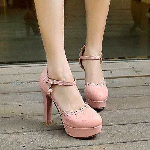 COOLCEPT Zapatos Moda Al Tobillo Dedo Del Pie Cerrado Tacon Alto Bombas Zapato Sandalias Dulce Lace Floral Plataforma Mujer Rosado