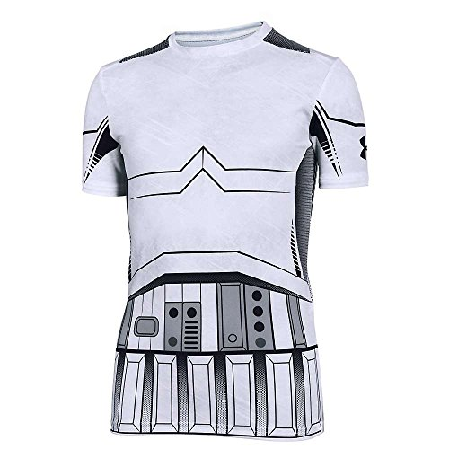 Under Armour Kids Boy's Storm Trooper HeatGear Short Sleeve (Big Kids) White/Steel Shirt by Under Armour (Image #2)