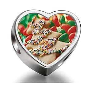 925 plata esterlina encantos granos de galleta de árbol de navidad y dulces granos del encanto del corazón del ajuste de Pandora Chamilia Biagi pulsera de cuentas encanto