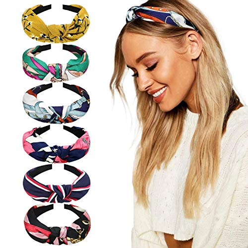(DRESHOW 6 Pack Headbands for Women Boho Headbands Vintage Flower Printed Criss Cross Elastic Head Wrap)