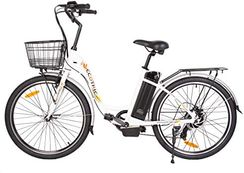 "ECOTRIC 26"" Powerful Electric Bicycle 350W Motor 36V/10AH Moped Throttle & Pedal Assist City Tire Bike W/Basket - You Will Receive (2) Packages"