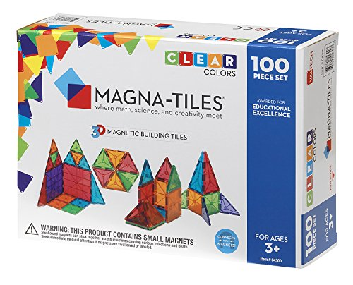 Magna-Tiles Clear Colors 100 Piece Set by Valtech Company