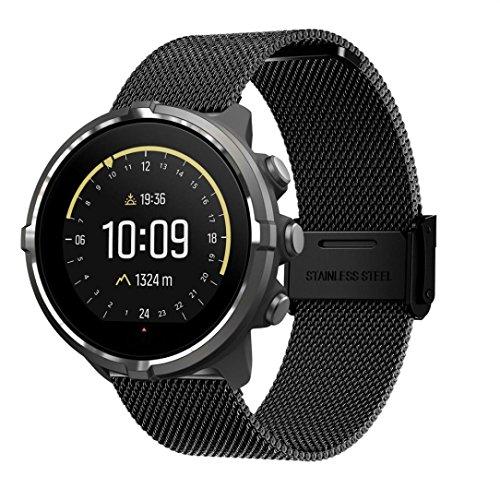 Para Suunto Spartan Sport Watch Band, Becoler Bucle milaneso de acero inoxidable con cierre magnético ajustable Correa de reloj de repuesto para Suunto Spartan Sport Smartwatch (Negro)