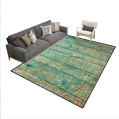 Floor Mat,Ancient Hyeroglyphs Icons on Wooden Board Mystic Egyptian Mummy Motherland Culture Image,Rugs Bedroom,Seafoam,6'6