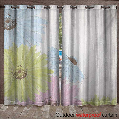 Balloons Daisy Gerbera (WilliamsDecor Pastel Outdoor Curtain for Patio Gerbera Daisies Chamomiles in Spring Season Garden W72 x L108(183cm x 274cm))