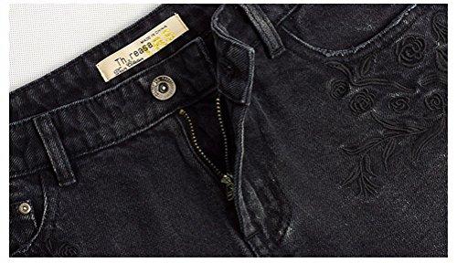 Oudan Mini Dechir Chic Et Noir Asymtrique Jeans Shorts Sexy Vintage Femme pour w7rHq7EIS