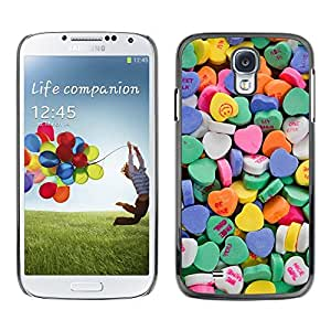 FlareStar Colour Printing Candy Valentines Blue Love Hearts cáscara Funda Case Caso de plástico para SAMSUNG Galaxy S4 IV / i9500 / i9515 / i9505G / SGH-i337
