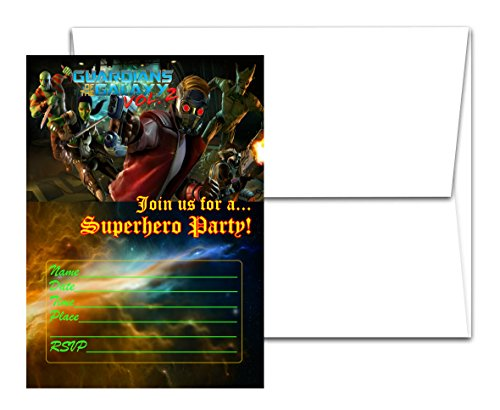 12 Guardians of the Galaxy Birthday Invitation Cards (12 White Envelops Included) #1