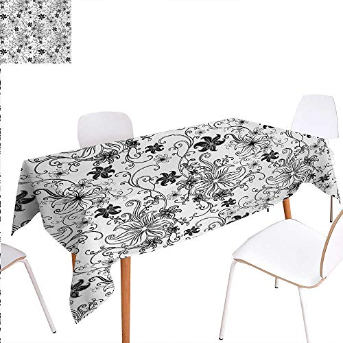 Warm Family Floral Patterned Tablecloth Flowers Leaves Twirled Swirls Buds Ethnic Nature Romantic Design Artwork Print Dust-Proof Oblong Tablecloth 54