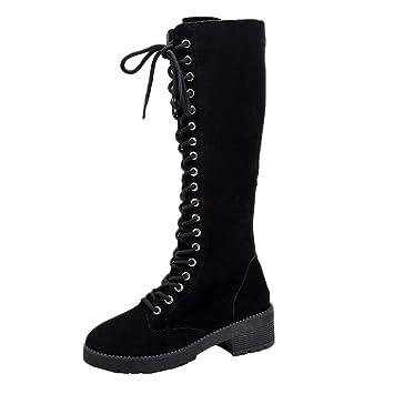 Logobeing Botines Tacon Zapatos Planos de Gamuza Retro para Mujer Punta Redonda con Cordones y Tubo Largo Botines Knight Altas Boots (36, Negro): Amazon.es: ...
