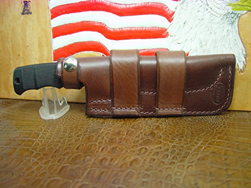 Custom Sog Seal Pup Horizontal LEATHER knife sheath LIGHT BROWN. A lot of leather for the price and can be worn on the left or right hand side. Sheath only.