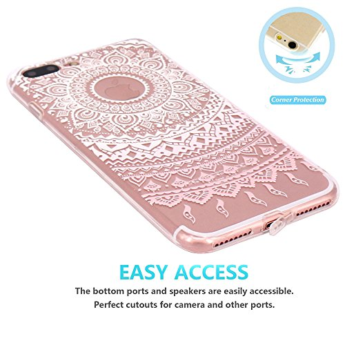 Coque iPhone 7 Plus, JIAXIUFEN Transparent Souple TPU Protecteur Silicone Étui Housse Coque pour iPhone 7 Plus - White Pink Tribal Mandala