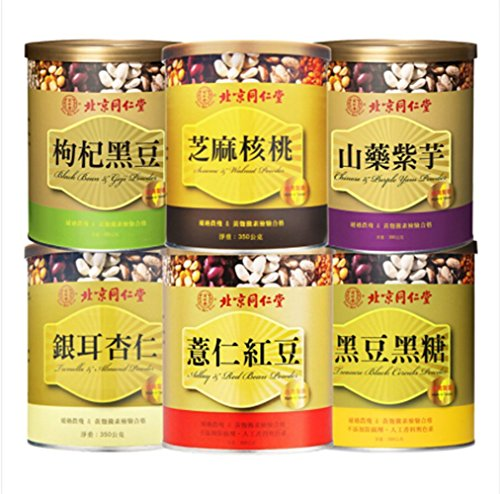 Tong Ren Tang Adlay Red Bean Chinese of Purple Yam Tremella Snow Fungus and Almond Treasure Black Cereals Sesame and Walnut Black Bean Goji Powder 12.44oz Pack of 6 by Bei Jing Tong Ren Tang