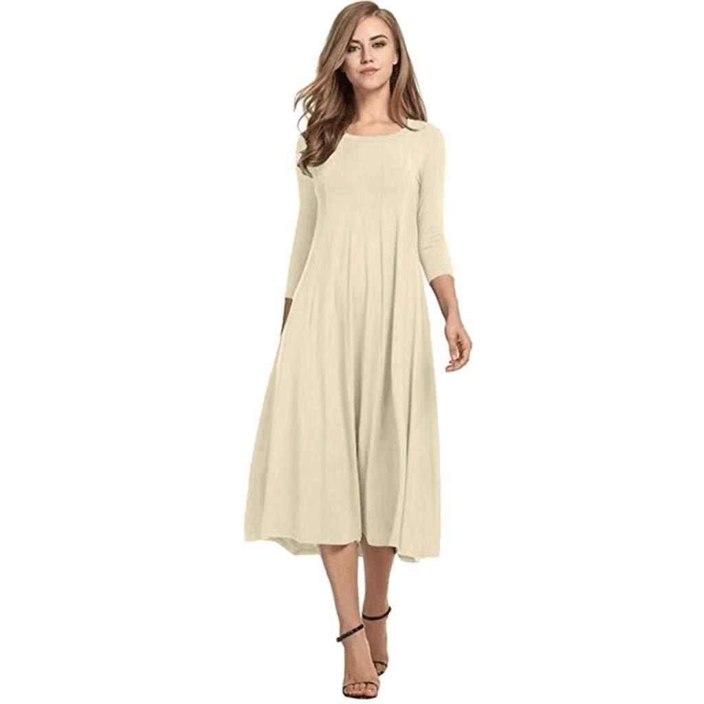 Sagton Long Prom Dresses Loose Large Size Round Neck Long Sleeve Large Swing Multicolor Dress (Beige,L)