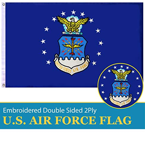 G128 - US Air Force Flag Double Sided Embroidered 3x5 ft Flag Brass Grommets ()