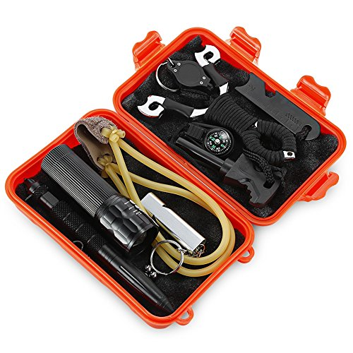 7 in 1 Self-help SOS Emergency Survival Equipment Kit for Outdoor Camping Hiking Fishing Mountaineering Travelling (bright orange)