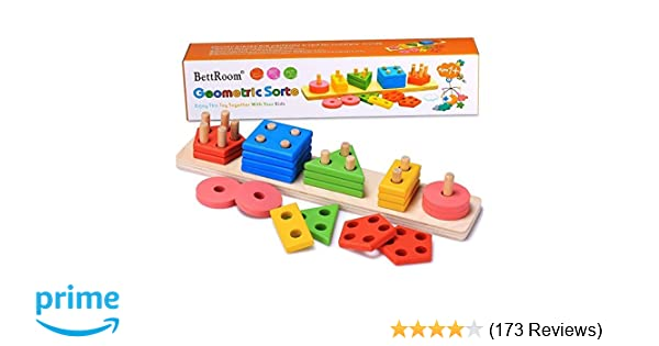 BettRoom Wooden Educational Preschool Toddler Toys For 1 2 3 4 5 Year Old Boys Girls Shape Color Recognition Geometric Board Blocks Stack Sort Kids Children