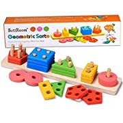 BettRoom Wooden educational preschool toddler toys for 1 2 3 4-5 year old boys girls shape color Recognition Geometric Board Blocks Stack Sort kids Children Baby NON-TOXIC toy(14IN)