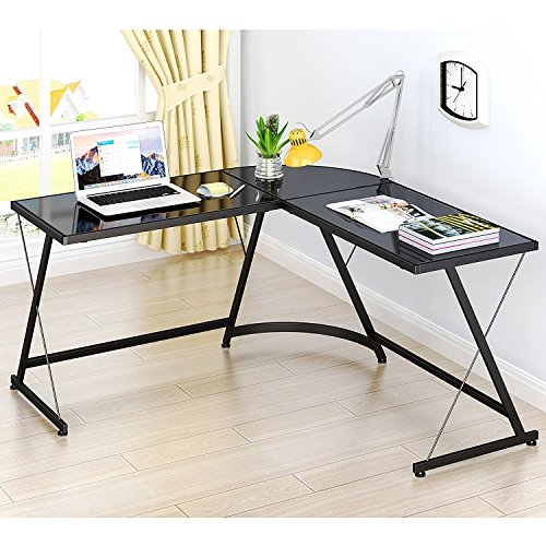 SHW L-Shaped Home Office Corner Desk (Black)