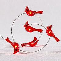 Impresione las luces cardinales, ornamentos decorativos del pájaro rojo de la nieve, 10 pies y 40 LEDs, con batería y temporizador remoto para el árbol de Navidad.