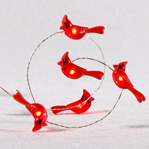 Cardinal Snow - Impress Life Cardinal Lights, Red Snow Bird Decorative Ornaments 10 ft 40 LEDs Battery Operated with Remote Timer for Christmas Tree Wedding Camping Birthday Parties Bedroom Home Decoration