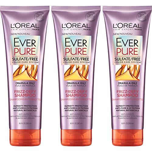 L'Oreal Paris Hair Care Everpure Sulfate Free Frizz Defy Shampoo, 3 Count