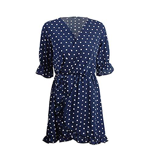 Cyose Trendy Polka-Dot Ruffle Wrap Summer Women Dress