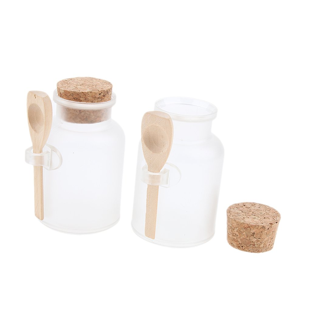 Baoblaze 2 Bath Salt Bottles Empty Clear Corked Jar with Wood Spoon 100g - 100g 5, 5 x 8, 9 cm