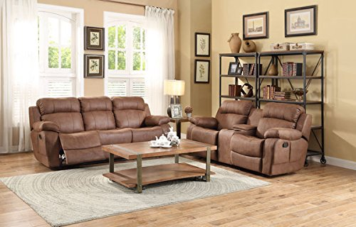 Homelegance 9724DBR-2 Transitional Textured  Bonded Leather Reclining Love Seat with Center (Taupe Leather Match Recliner Loveseat)