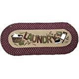 USTIDE Laundry Floor Runner Braid Handmade Rug Burgundy Vintage Rug Washable Cabinet/Washhouse/Floor Mats Oval