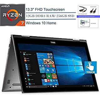 "Dell Inspiron 13 7000 13.3"" Convertible 2-in-1 FHD Touchscreen Laptop Computer, AMD Quad-Core Ryzen 7 2700U (Beats i7-7500U), Windows 10, Bluetooth, WiFi, CUE Accessories Bundle (12GB DDR4, 256GB SSD)"
