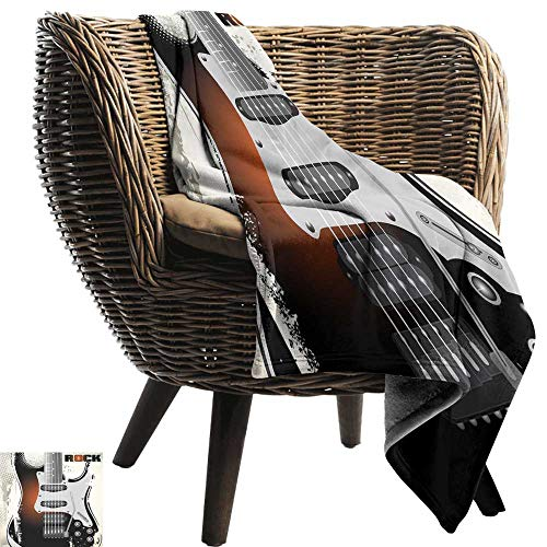WinfreyDecor Rock Music Blanket Sheets Detailed Guitar Pattern with Strings Retro Halftone Background Abstract Grunge Sofa Chair 60