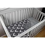 Dear-Baby-Gear-Deluxe-Baby-Blankets-Custom-Minky-Print-White-Antlers-Grey-Minky-Dot