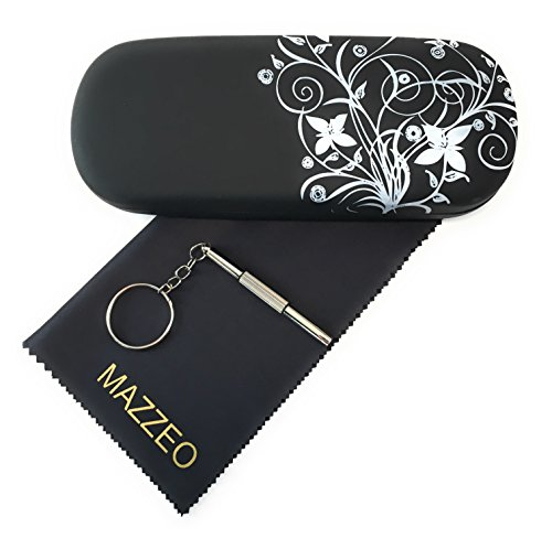 Hard Shell Glasses Case Kit With a Cleaning Cloth and Repair Tool For Men or Women (Tribal Black)